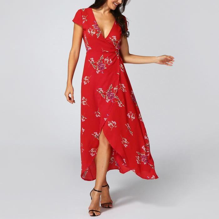 Longue Femmes Lady Robe Sundrss Fleurs Dress Boho Summer Maxi Beach ZiulTwPOXk