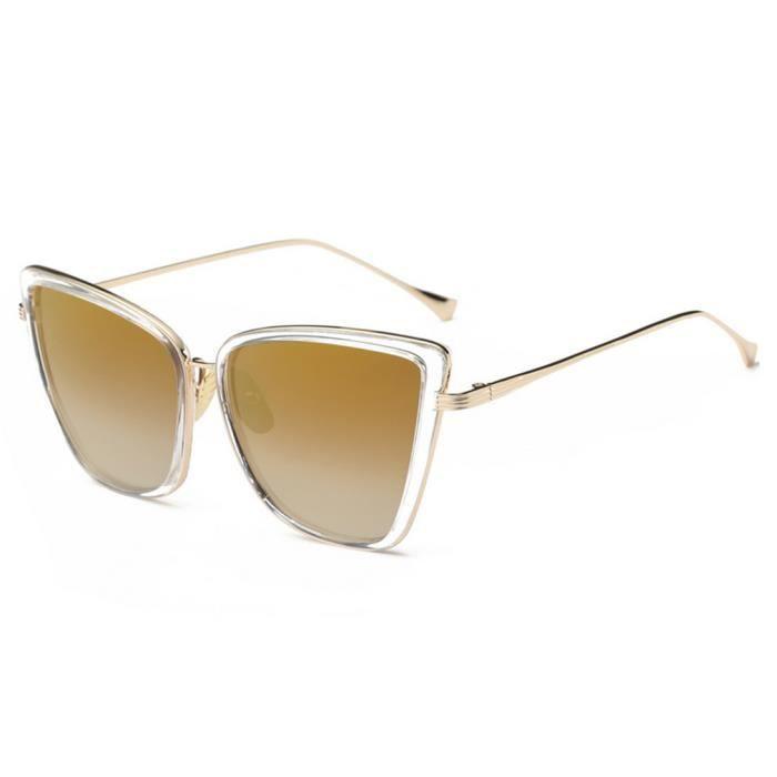 YKS fashion yeux lunettes de soleil de chat personnalisé transparent dor Tyrant