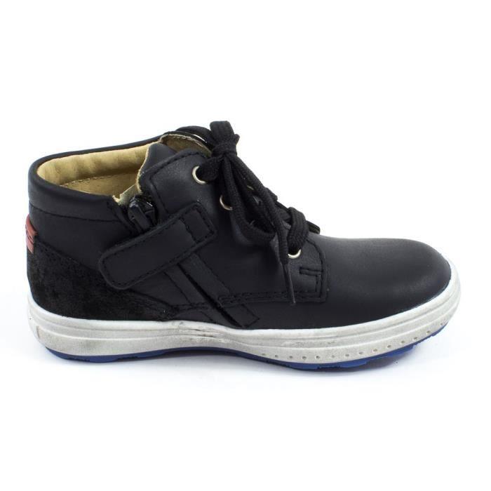 NINO Baskets cuir noir à fermeture GBB