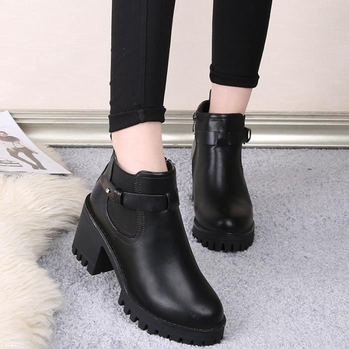 plate-forme en cuir véritable augmenté épais extrêmes femmes haut talon bottines chaussures solides de la marque de travail de xmLfafK