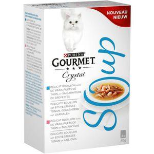 GOURMET Soupe thon anchois crevettes - Pour chat - 4x40g