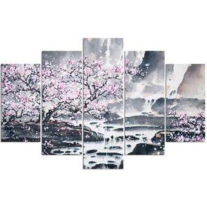 TABLEAU - TOILE Tableau déco multi panneaux 100x150 CERISIER ROSE