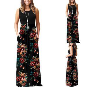 ROBE Femmes manches imprimé floral poches en vrac Robes