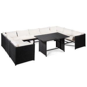 Mobilier de jardin 32 pcs Résine tressée Noir et blanc crème Salon de  jardin Ensembles de meubles d\'exterieur