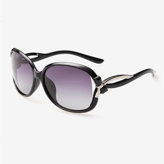 Lunettes de soleil femme polarisées de avec Grande Cadre Rétro sunglasses marque de Luxe Noir