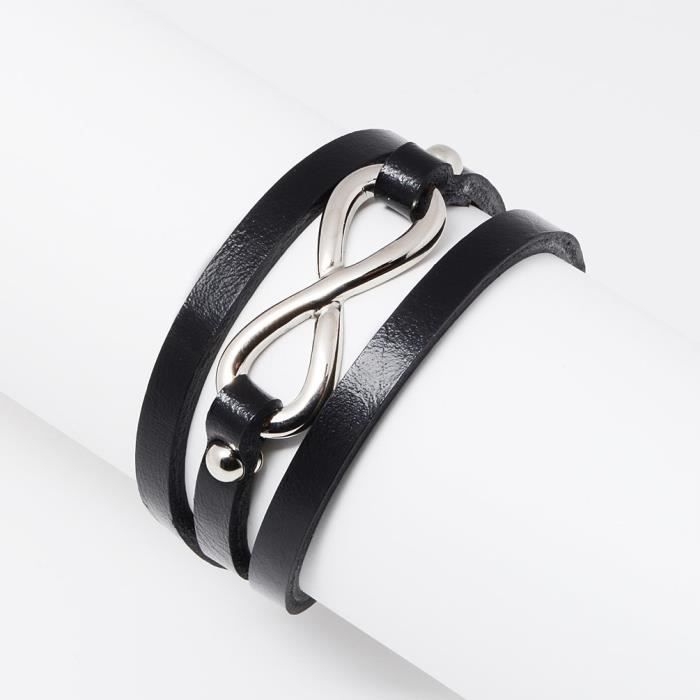 Womens Stainless Steel And Leather Infinity Sign Charm Multilayer Wrap Bracelet, Jewelry ForSLAMI