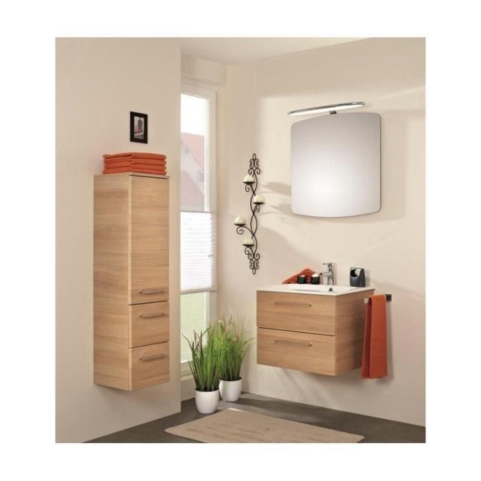 Meuble suspendu salle de bain sonic 61 nature structur miroir 2 pin miel 60 cm50 cm achat - Meuble salle de bain nature ...