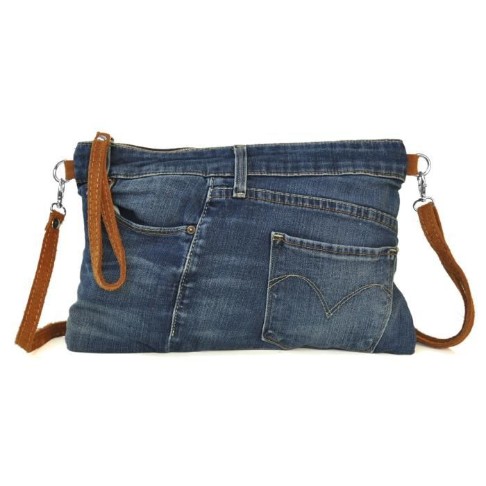 3173f5d1ef987 Lae In - Sac Pochette Femme - Jeans Recyclé et Cuir Veau Velours - Made in  Italy