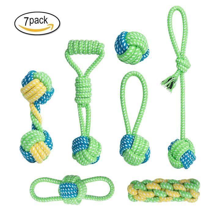 7 Pcs Jouets Tricot À Pet Rope Chew Toy Teaser Candy Color Molarteether Pour Chiens Accessoires Nettoyage De Dents Molaires