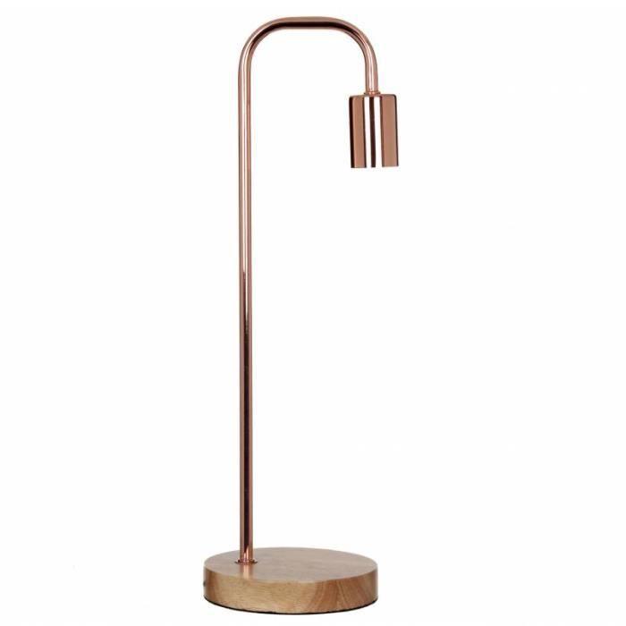 Luminaire Sur Chevet Cuivré Lampe Et Poser À Métal De Pied En D'ambiance 15x15x51cm Bois m8nNw0