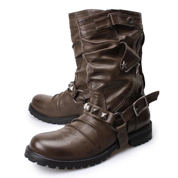 Mode de peau de vache en cuir véritable Bottes Uniforme militaire Rivet Punk Martin Gothique Plateforme Bottes mi-mollet Chaussures
