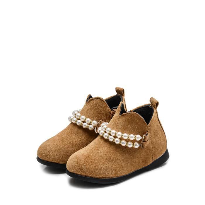 Perles Bottes de fille Side Zip Fermeture Thicken Chaussures enfants 12000082 aZJ7KGz