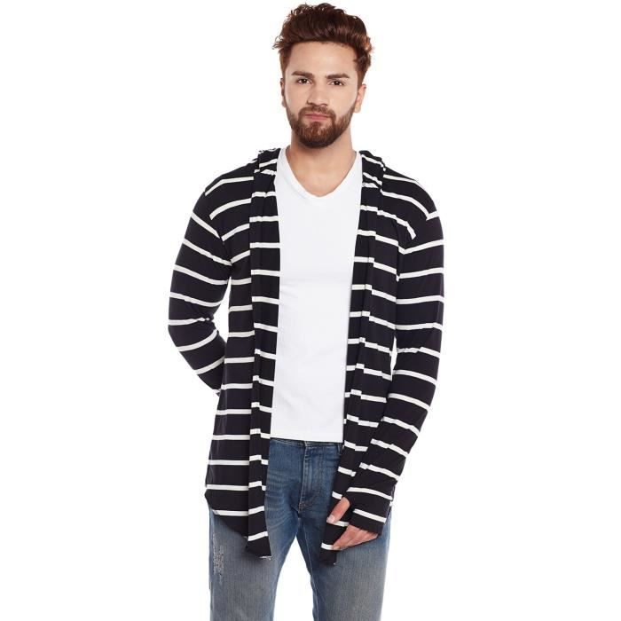 Mens Black And White Stripe Hooded Cardigan With Thumb Insert E0gz8