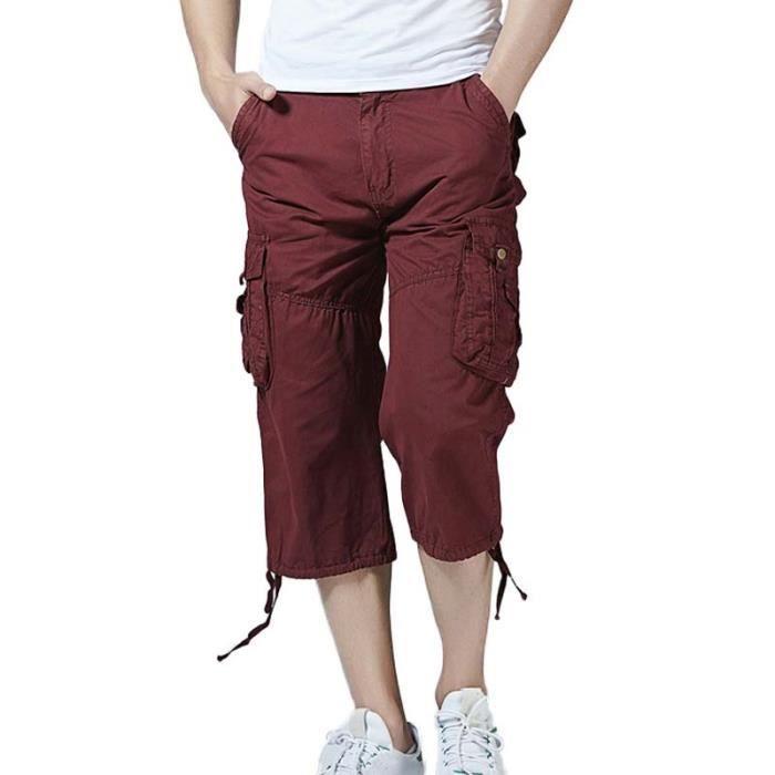 Pantacourt Cargo Homme Multi-poches Straight Pantalon Court Été Style  Militaire Couleur Unie a21470c1115f
