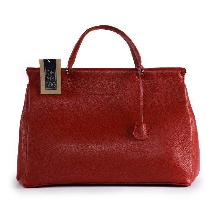 Sac à Main femme cuir - Modèle Voltaire rouge clair