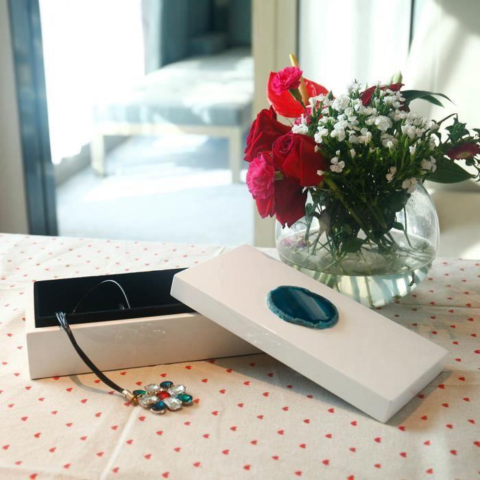 Boîte à Bijoux rectangulaire (Agate Bleue) Décoration en bois boîte à rangement collier Cadeaux danniversaire pour femmes Velours