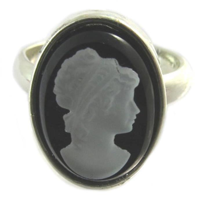 Bague artisanale Divine Camée noir blanc argenté - 15x11 mm [P1636]