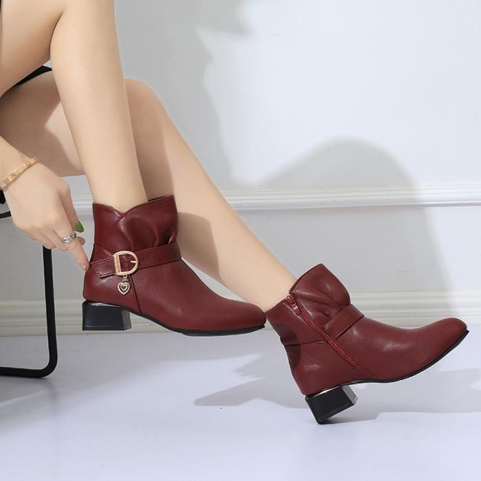 Bracelet Bottines Talon En Carré Bottes Zipper Cuir Rouge Martin Chaussures Femmes Boucle wt1ddv