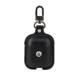 CASQUE - ÉCOUTEURS Étui de protection en cuir PU noir pour Apple AirP
