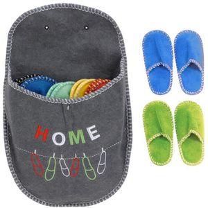CHAUSSON - PANTOUFLE 5 paires de chaussons pantoufles invités - gris