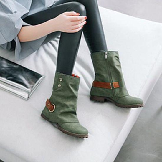 Boucle Chaussures Patchwork Cuir Mode Courtes Cuir Artificielles vert Femmes Benjanies En Bottes Chaud q4YTYRz8
