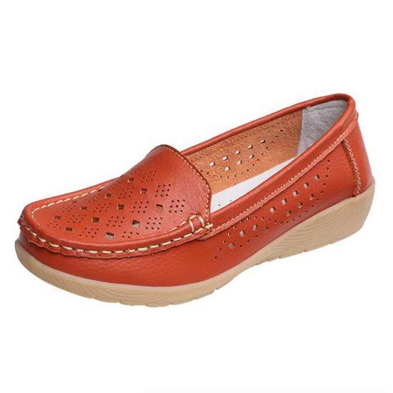 Femmes Wedges Casual souple Bas extérieur Slip confortable sur les pois Chaussures bateau Orange_UJI*1322 Orange Orange - Achat / Vente slip-on