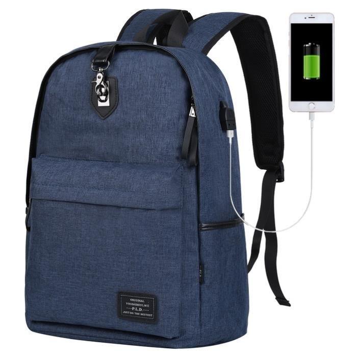 Vbiger Sac à dos pour ordinateur portable léger école Vbiger grande capacité Sac à dos Voyage pour hommes, durable Tissu Oxford,