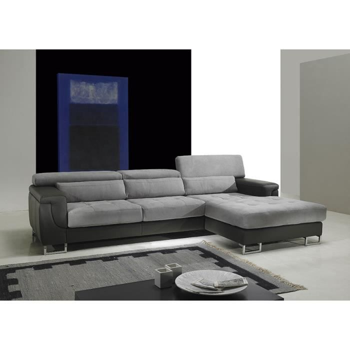 Canapé d angle cuir et tissu gris FABIEN Angle  droite Achat