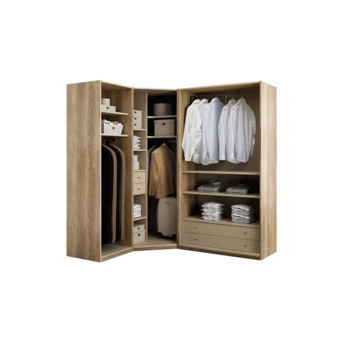 dressing d 39 angle ouvert noyer 3 l ments galla achat vente amenagement dressing dressing d. Black Bedroom Furniture Sets. Home Design Ideas