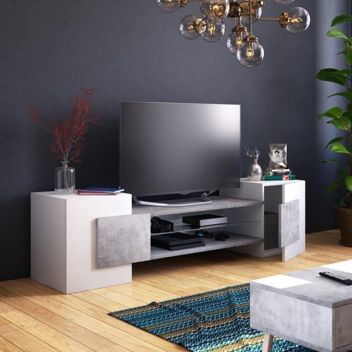 Meuble TV / Meuble de salon - CHARLES - 160 cm - blanc mat / béton - sans  LED - style contemporain - design moderne