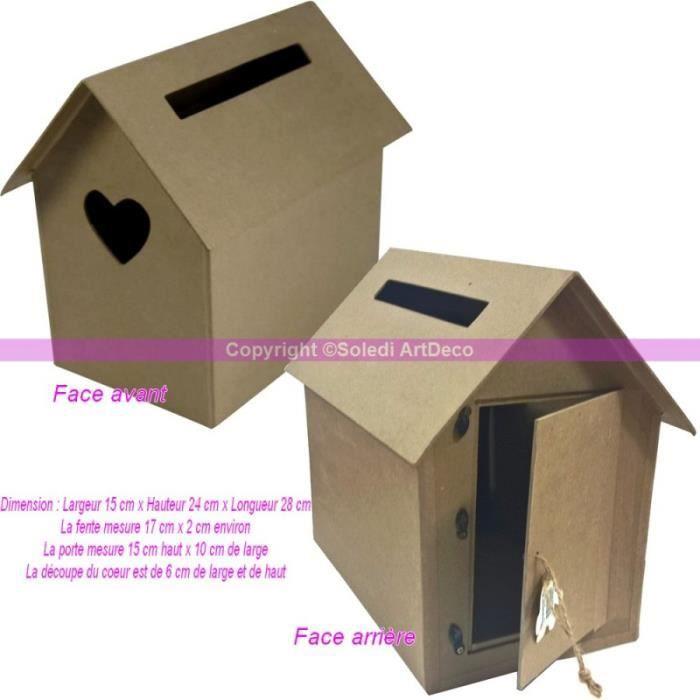 boite aux lettres cabane nichoir en carton urne avec coeur d coup 15x24x28cm unique achat. Black Bedroom Furniture Sets. Home Design Ideas