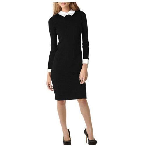 Contraste formelle des femmes de couleur noire à manches longues Robe crayon affaires