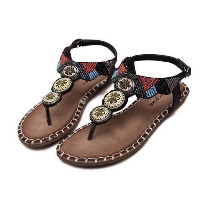 Sandale Femme Bohémienne été Chaussure Fille Sandales KIANII® Noir