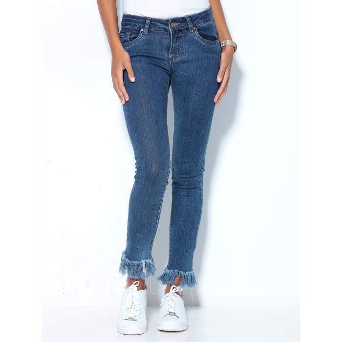 jean coupe fuseau franges femme bleu achat vente jeans cdiscount. Black Bedroom Furniture Sets. Home Design Ideas
