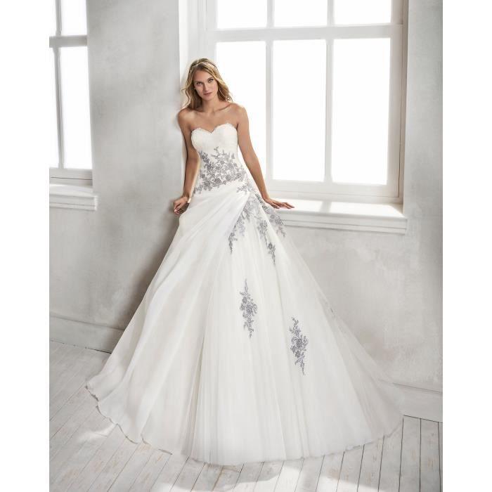 9c29d3f742e Robe de Mariée Mariage Princesse Femme Longue Bustier Sans Bretelle  Appliques Organza Taille 38-48