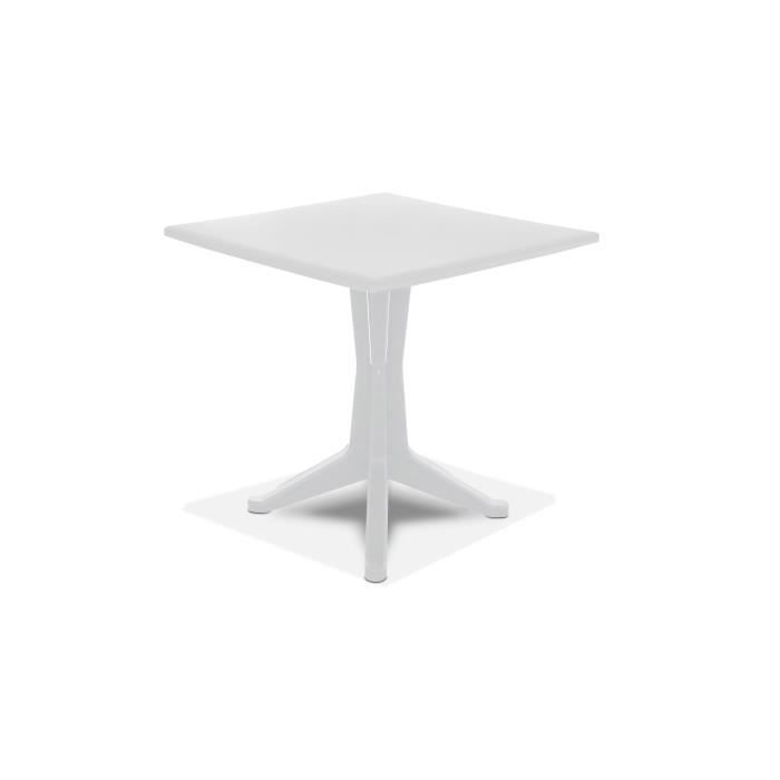 Table de jardin carrée en plastique Blanc - Achat / Vente table de ...