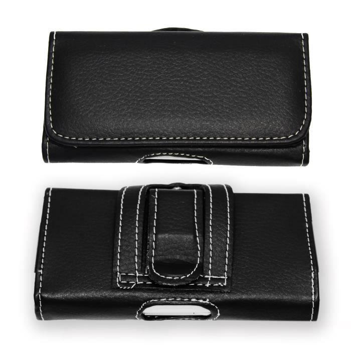 nouveau produit b4356 0ecf2 Doro Liberto 8031 étui pochette accroche-ceinture façon cuir grainé noir de  qualité avec clip + passant, fermeture aimanté et