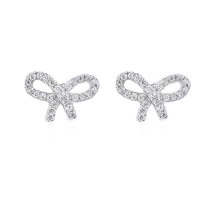 Boucles DOreilles - Argent Plaqué Rhodium - Noeud - Cubic Zirconium (Cz) - Bijoux Fashion ***