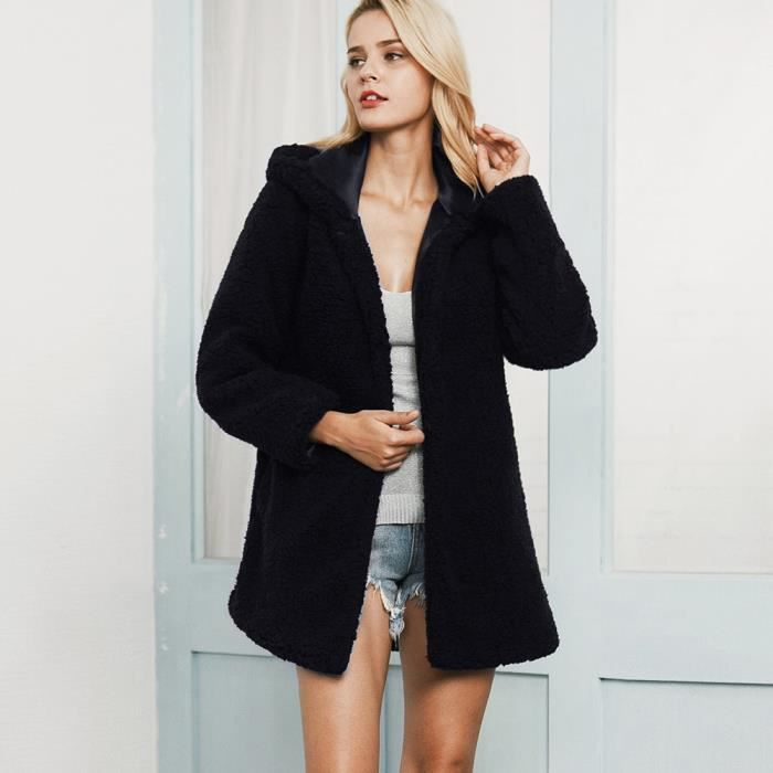 Parka Noir Femmes Outwear Hoodies Hiver Tranchée Chaud Manteau Top Cooldiscovere Long qOpfOH