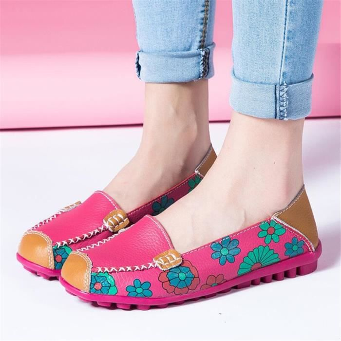 Mocassins Femmes Printemps ete Cuir Chaussures YLG-XZ056Noir42 HpiiHas8