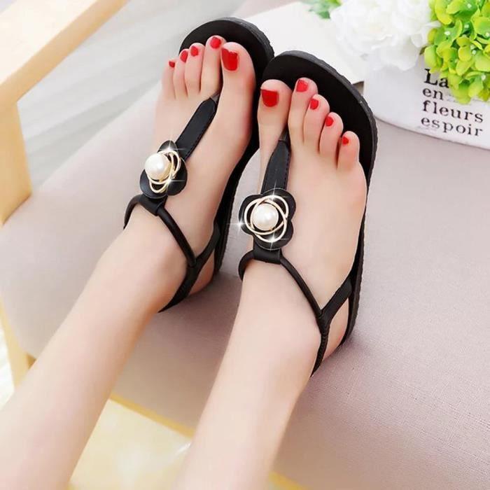 En Femme Plates Sandales Bohême Noir Benjanies Plein Loisirs Femmes Chaussures Peep Air toe YqOUU