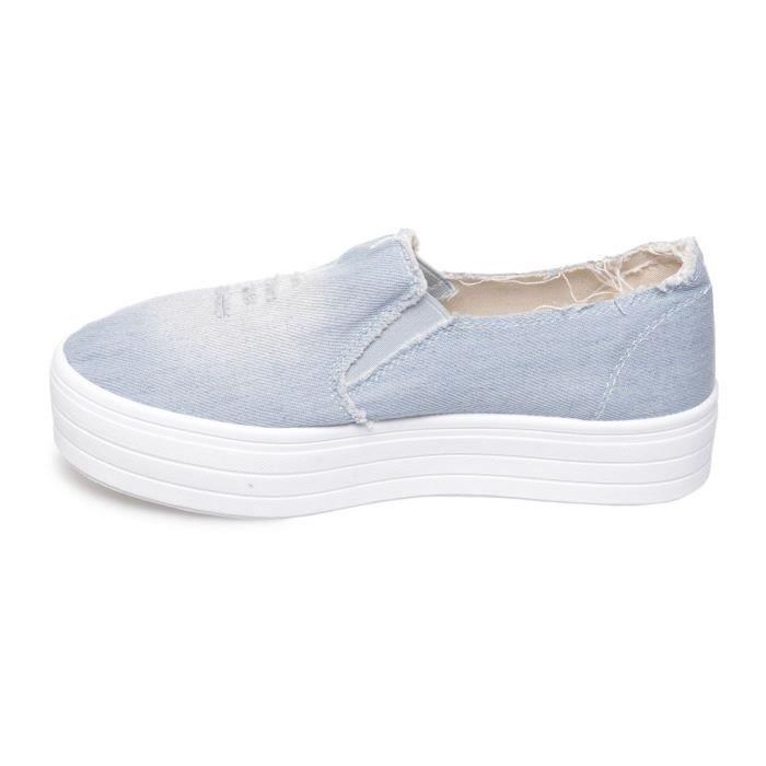 La Modeuse - Baskets de type slip-onen jeans destroy