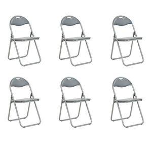 CHAISE Lot De 6 Chaise Pliante PVC Rouge Metal Argent Con