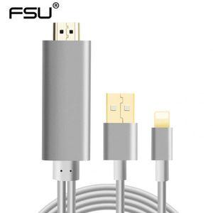 CÂBLE TV - VIDÉO - SON Version Noir - Lightning to HDMI - 2 M Foudre À Hd
