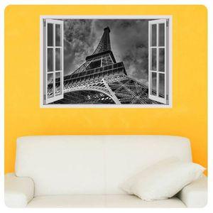 TABLEAU - TOILE The Eiffel Tower Paris Fake 3D Window IMPRIMER Sur