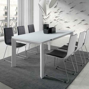 table extensible laquee blanc achat vente pas cher. Black Bedroom Furniture Sets. Home Design Ideas