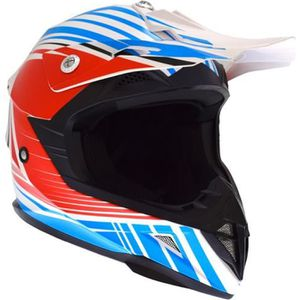 CASQUE MOTO SCOOTER Casque Cross Adulte ATRAX Radial - Rouge / Bleu /