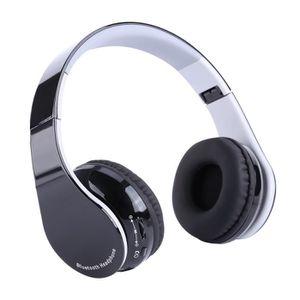 CASQUE AVEC MICROPHONE Noir Casque sans fil Bluetooth 4.1 pliable écouteu
