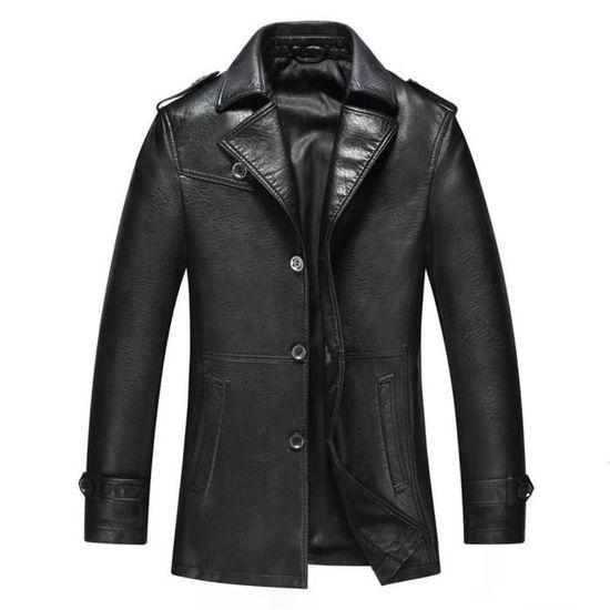 Homme Rabattu Vêtement D automne Casual Blouson Mode Col Imitation Cuir  4q4w17 d66dd286e72