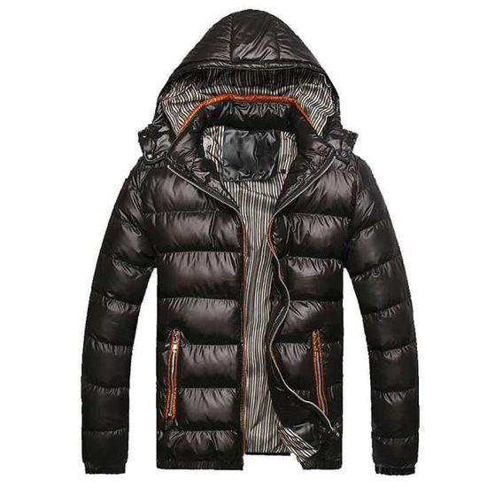Chapeau Épaississement Rembourré D'hiver Coton Chaud Veste Noir D'homme En Amovible Manteau OgORAw